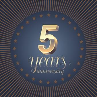 5 jaar verjaardag belettering. 3d-nummer voor 5e verjaardag. Premium Vector