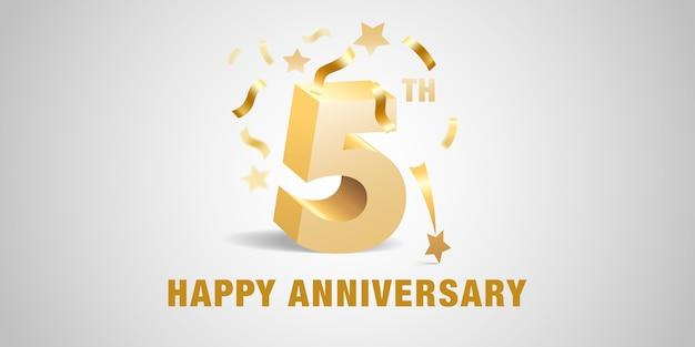 5 jaar verjaardag ontwerpsjabloon met gouden 3d nummers en feestelijke elementen