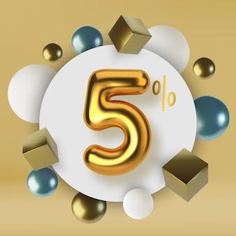 5 korting op korting promotie verkoop gemaakt van 3d-gouden tekst nummer in de vorm van gouden ballonnen