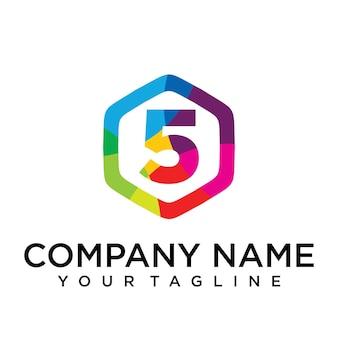 5 letter logo icon zeshoek ontwerpsjabloon element