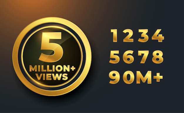 5 miljoen of 5 miljoen views gouden label badge-ontwerp