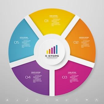 5 stappen cyclusgrafiek infographicselementen voor gegevenspresentatie.