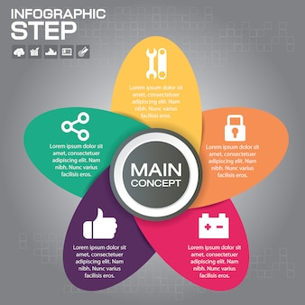 5 stappen infographic design elements