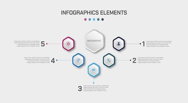 5 stappen infographic elementenontwerp met zeshoekige glanzende effectenvormen