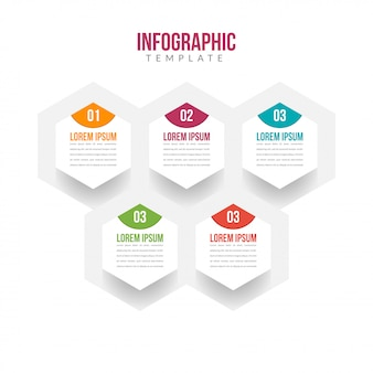 5 stappen infographic sjabloon