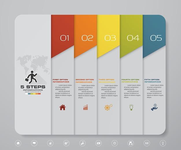 5 stappen infographics element sjabloongrafiek