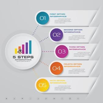 5 stappen infographics elementgrafiek voor presentatie.
