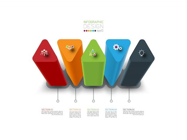 5 stappen kleurrijke driehoekige infographic sjabloon.