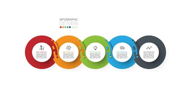 5 stappen kleurrijke infographic sjabloon.