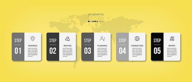 5 stappen of optie zakelijke infographic sjabloon.