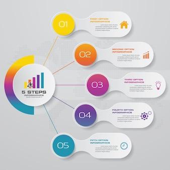 5-stappen optiebanner voor presentatie.
