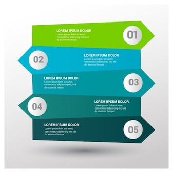 5 stappen pijlen infographic