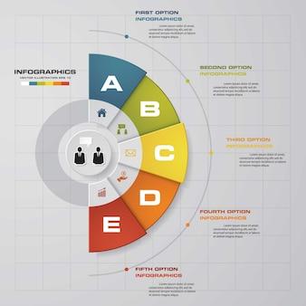 5 stappen presentatie van het infographicselement.