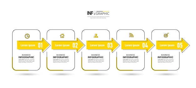 5 stappen tijdlijn infographics ontwerpsjabloon