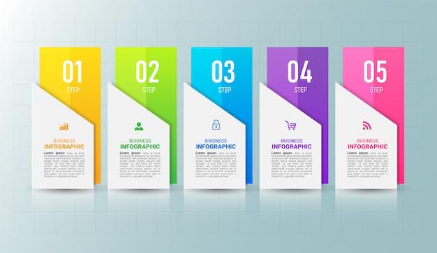 5 stappen tijdlijn infographics ontwerpsjabloon.