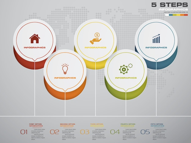 5 stappen tijdlijn voor uw presentatie.