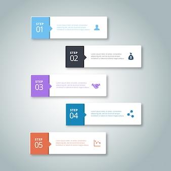 5 stappen van infographic met hemelsblauwe grijs paars blauw en oranje kleuren