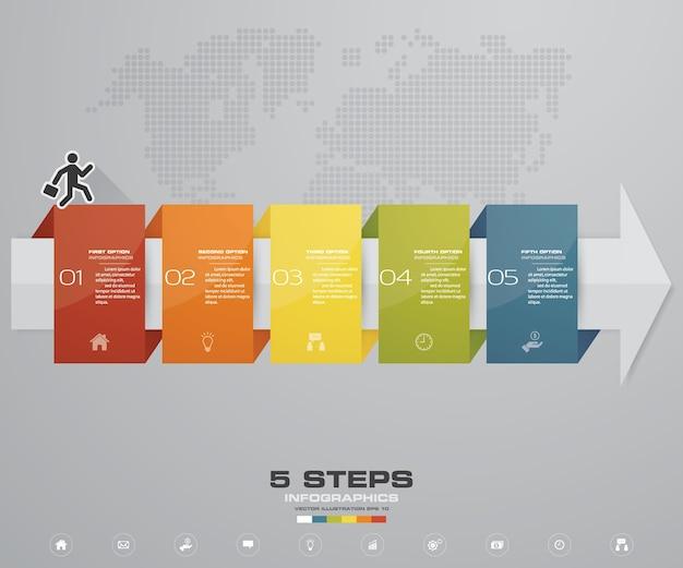 5 stappen van pijl infografics-sjabloon voor presentatie.