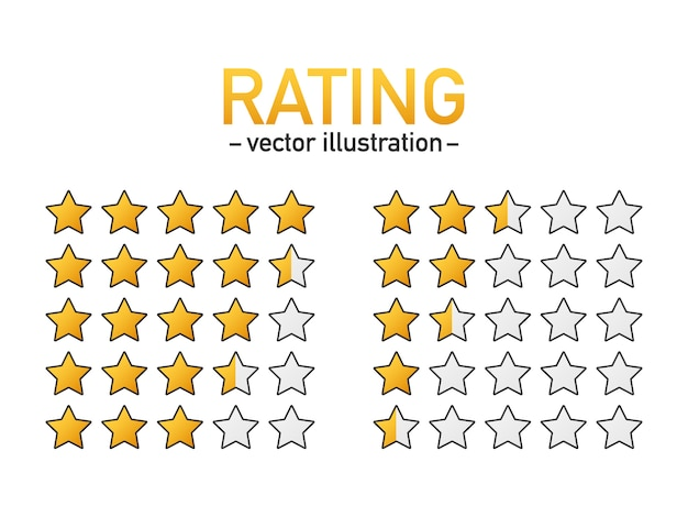 5 sterren rating pictogram vector. geïsoleerde badge voor website of app. beoordeling van productbeoordelingen door sterrenklanten.