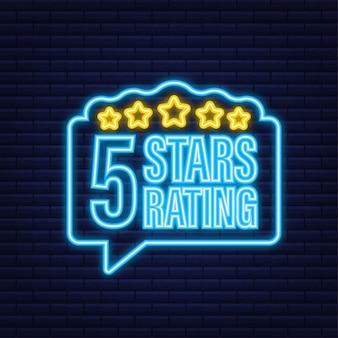 5 sterren waardering. badge met pictogrammen op witte achtergrond. neon icoon. vector illustratie.