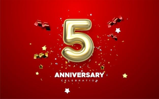 5 verjaardag gouden nummers met gouden confetti. viering 5e verjaardag evenement feest sjabloon.