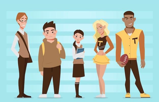 5 verschillende studenten in schooluniform vlakke afbeelding