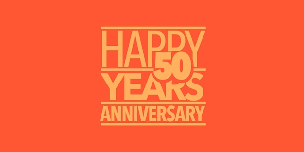 50 jaar verjaardag vector pictogram, logo, banner. ontwerpelement met samenstelling van letters en cijfers voor 50e verjaardagskaart