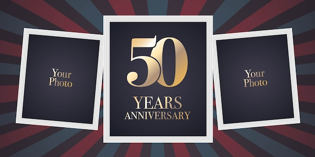 50 jaar verjaardag vector pictogram, logo. sjabloonontwerpelement, wenskaart met collage van fotolijsten voor 50-jarig jubileum