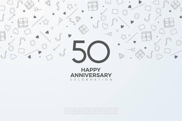 50-jarig jubileum met een kleine geïllustreerde achtergrond