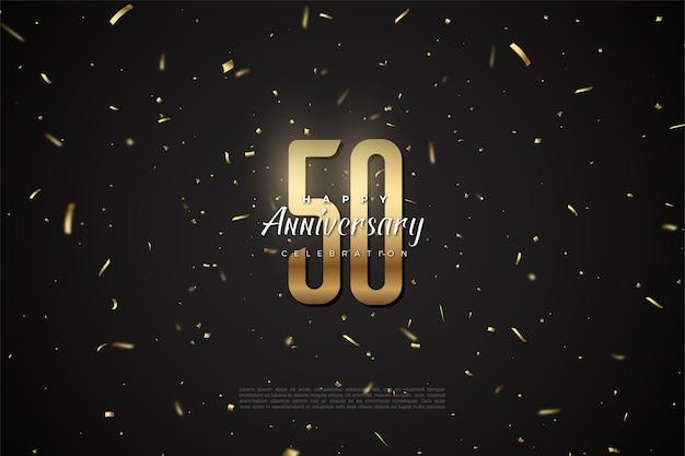 50-jarig jubileum met gouden cijfers en stippen verspreid over de achtergrond