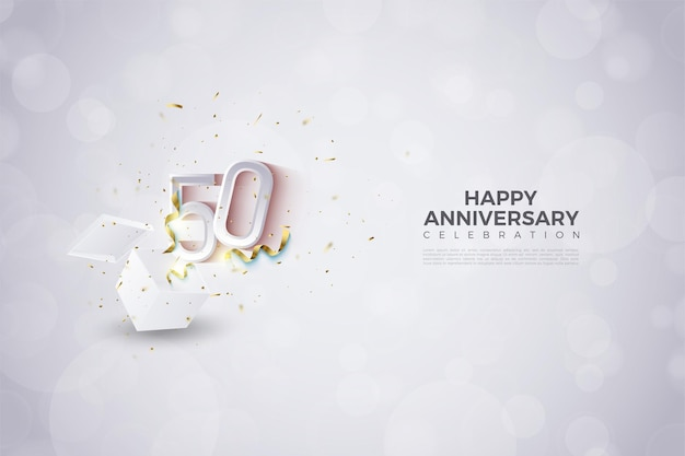 50-jarig jubileum met illustratie van ontploffende getallen vanuit de shockbox