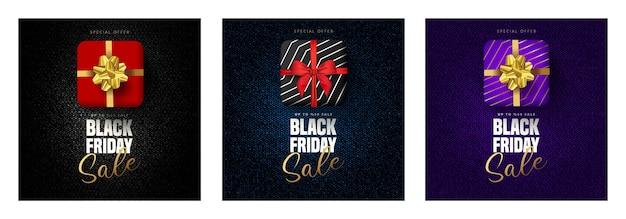 50% korting op black friday-belettering, geschenkdoos in 3 verschillende kleuren