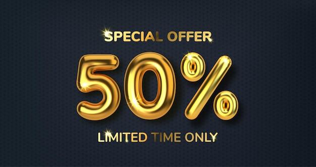 50 korting op promotie-verkoop met korting gemaakt van realistische 3d-gouden ballonnen nummer in de vorm van gouden ballonnen