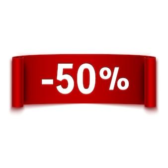 50% korting op rode lint bericht advertentie, verkoop, korting, vector illustratie