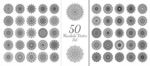 50 luxe mandala set. mehndi bloemdecoratie in etnische oosterse, indiase stijl. doodle sieraad. overzicht hand tekenen illustratie