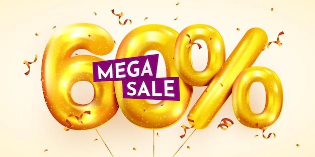 50 procent korting op creatieve compositie van gouden ballonnen mega-uitverkoop of zestig procent