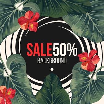 50 procent verkoopachtergrond met exotisch regenwoudgroen