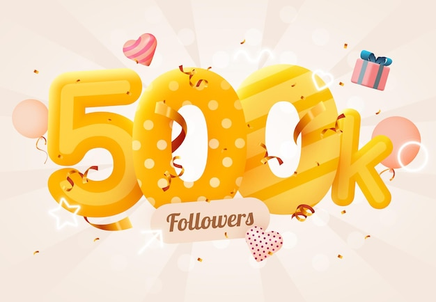500.000 of 500.000 volgers bedankt roze hart, gouden confetti en neonreclames.