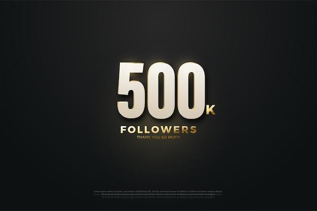 500.000 volgers achtergrond met verlichte nummers