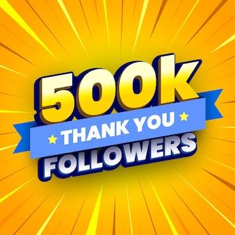 500.000 volgers banner met blauw lint