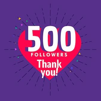 500 volgers begroeting voor sociale media netwerk sjabloon