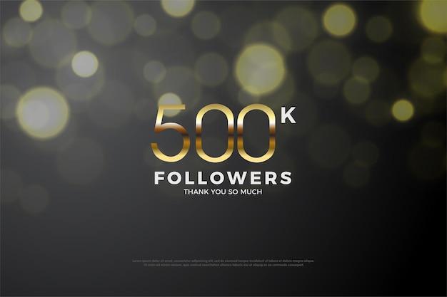 500k volgers afbeelding achtergrond met gouden cijfers