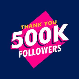 500k volgers bedankt bericht in funky stijl Gratis Vector