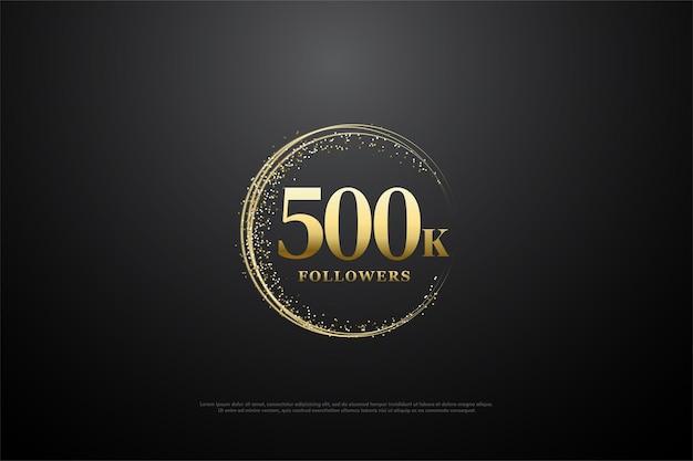500k volgersachtergrond met cirkelvormige gouden cijfers en zand