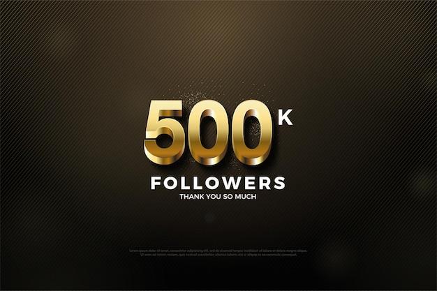 500k volgersachtergrond met glanzende gouden cijfers