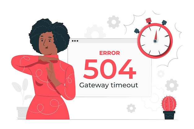 504 fout gateway time-out concept illustratie