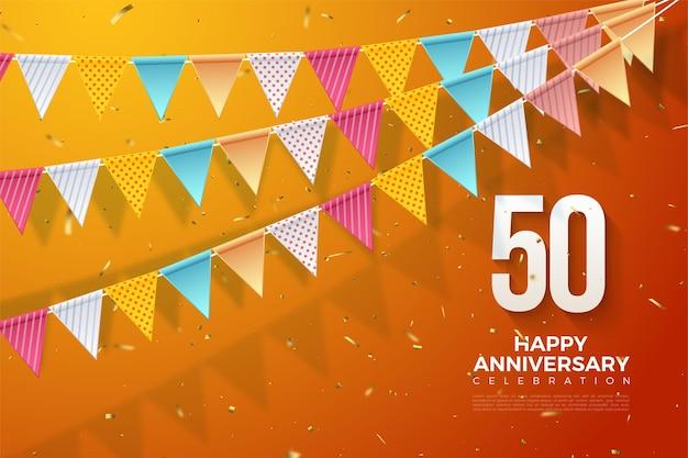 50e verjaardag met kleurrijke vlag illustratie