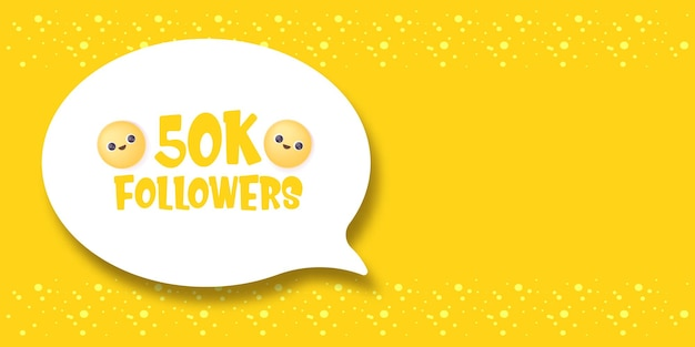 50k volgers tekstballon banner kan worden gebruikt voor zakelijke marketing en reclame