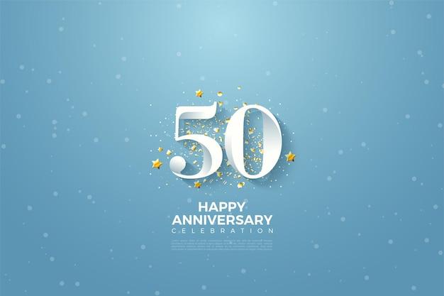 50ste verjaardag met hemel achtergrond illustratie