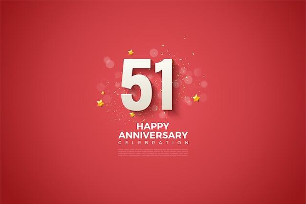 51e verjaardag met 3d-figuurillustratie